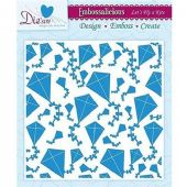 Die-Sire Embossalicious - Let's Fly A Kite 6x6 Embossing Folder - EF6-FLKITE